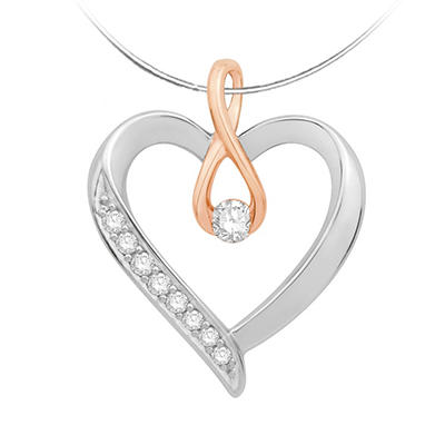 0.12 CT. TW. Radiant Love Pendant In 14K Rose Gold and Sterling SIlver