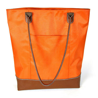 Wilson's Leather Carry All Leather Trimmed Foldable Nylon Tote - Orange