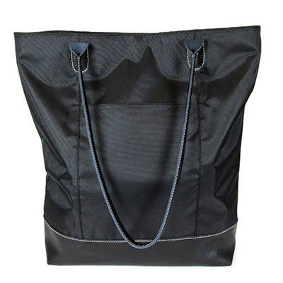 Wilsons Leather Carry All Leather Trimmed Foldable Nylon Tote - Black