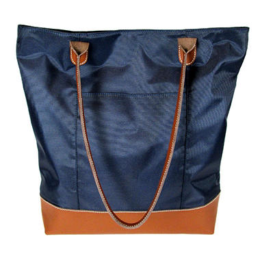 Wilsons Leather Carry All Leather Trimmed Foldable Nylon Tote - Midnight Blue