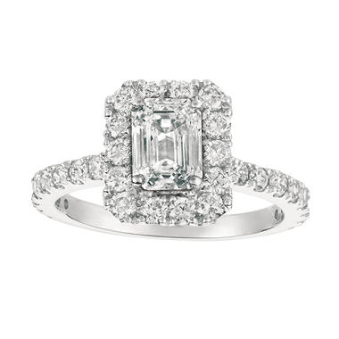 2.00 CT.T.W. Emerald-Cut Diamond Engagement Ring 14K White Gold (I, I1)