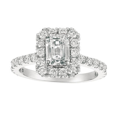 2.00 CT.T.W. Emerald-Cut Diamond Bridal Ring 14K White Gold (I, I1)