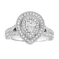 2.00 CT. T.W. Pear-Shape Diamond Bridal Ring 14K White Gold (I, I1)