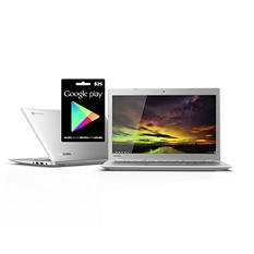 "Toshiba Chromebook 2 Bundle 13.3"" Laptop Computer, Intel Celeron N2840, 2GB Memory, 16GB Hard Drive with $25 GOOGLE PLAY GIFT CARD"