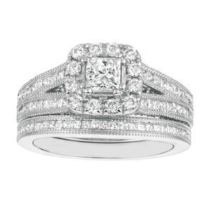 1.75 CT.T.W. Princess-Cut Diamond Bridal Set 14K White Gold (I, I1)