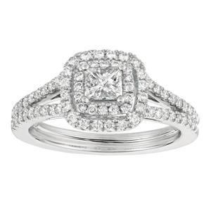 1.00 CT. T.W. Princess-Cut Diamond Bridal Ring 14K White Gold (I, I1)