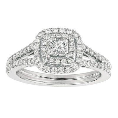 1.00 CT. T.W. Princess-Cut Diamond Bridal Ring 14K White Gold (I, I1)