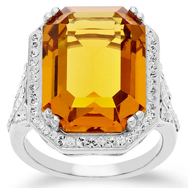 Swarovski Yellow Crystal Cocktail Ring in Sterling Silver