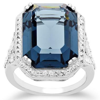 Swarovski Blue Crystal Cocktail Ring in Sterling Silver