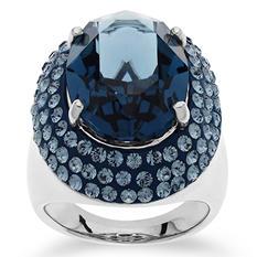 Swarovski Dark Blue Crystal Cocktail Ring in Sterling Silver