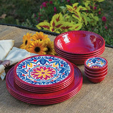 Melamine Dinnerware Set 16-Piece  -  Assorted Colors