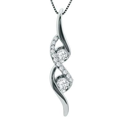 Sirena® 0.25 CT. T.W. 2-Stone Diamond Pendant in 14K White Gold (H-I, SI2-I1)