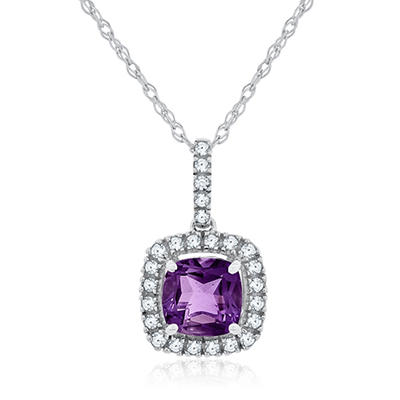 Cushion Cut Amethyst and White Sapphire Pendant In 14K White Gold
