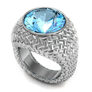 Sterling Silver and Blue Topaz Woven Ring