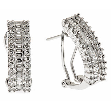 1.00 CT.T.W. Round and Baguette Diamond Hoop Earrings in 14K White Gold (H-I, I1)