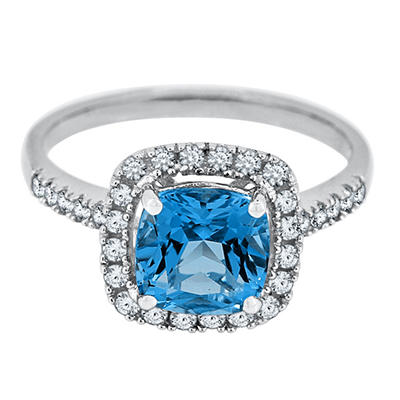 Cushion Cut Swiss Blue Topaz and White Sapphire Ring in 14K White Gold