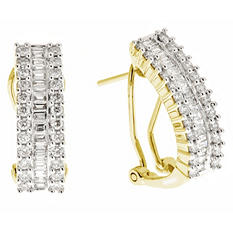 1.00 CT.T.W. Round and Baguette Diamond Hoop Earrings in 14K Yellow Gold (H-I, I1)