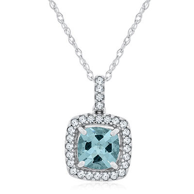 Cushion Cut Aquamarine and White Sapphire Pendant In 14K White Gold