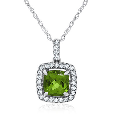 Cushion Cut Peridot and White Sapphire Pendant in 14K White Gold