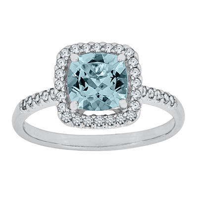 Cushion Cut Aquamarine and White Sapphire Ring In 14K White Gold