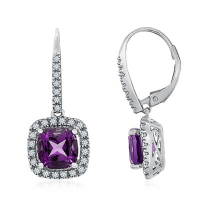 7mm Cushion Cut Amethyst and White Sapphire Earrings in 14K White Gold