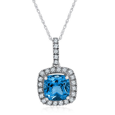 Cushion Cut Swiss Blue Topaz and White Sapphire Pendant in 14K White Gold
