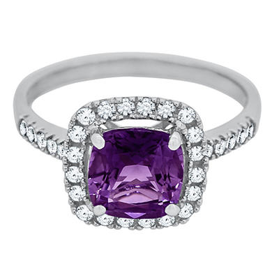 Cushion Cut Amethyst and White Sapphire Ring In 14K White Gold