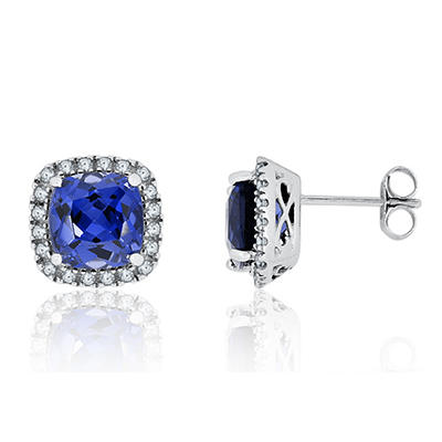 8mm Cushion Cut Lab Created Sapphire and Created White Sapphire Earrings in 14K White Gold