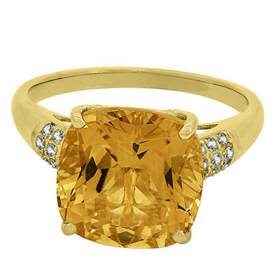 Cushion Cut Citrine and Diamond Ring In 14K Yellow Gold