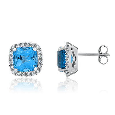 8mm Cushion Cut Swiss Blue Topaz and White Sapphire Earrings In 14K White Gold
