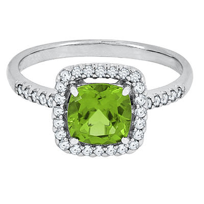 Cushion Cut Peridot and White Sapphire Ring in 14K White Gold