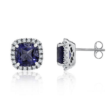 8mm Cushion Cut Amethyst and White Sapphire Earrings In 14K White Gold