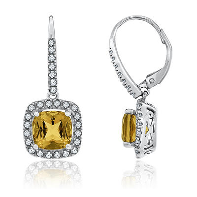 7mm Cushion Cut Citrine and White Sapphire Earrings in 14K White Gold