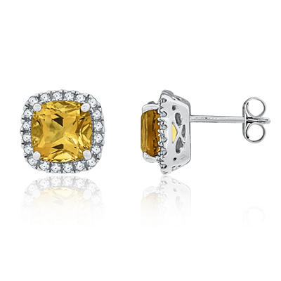 8mm Cushion Cut Citrine and White Sapphire Earrings in 14K White Gold
