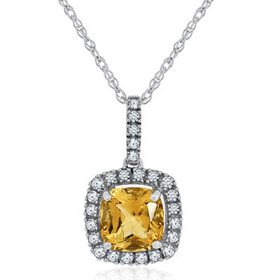 Cushion Cut Citrine and White Sapphire Pendant in 14K White Gold
