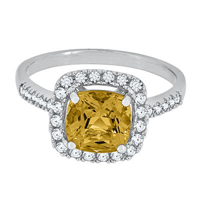 Cushion Cut Citrine and White Sapphire Ring in 14K White Gold