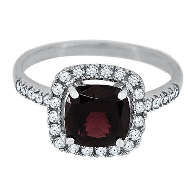 Cushion Cut Brazilian Garnet and White Sapphire Ring in 14K White Gold
