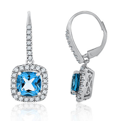 7mm Cushion Cut Swiss Blue Topaz and White Sapphire Earrings in 14K White Gold