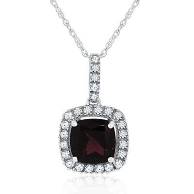 Cushion Cut Brazilian Garnet and White Sapphire Pendant in 14K White Gold