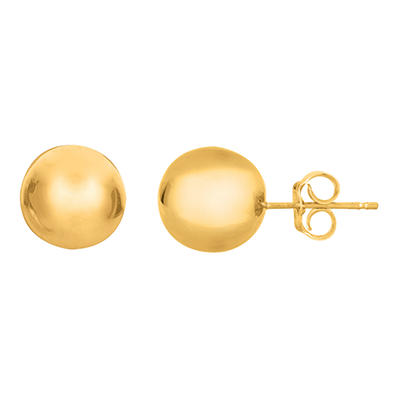 9mm Polished Ball Stud Earrings in 14K Yellow Gold