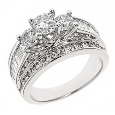 2.95 CT. T.W. Diamond Bridal Ring in 14K White Gold (H-I, I1)