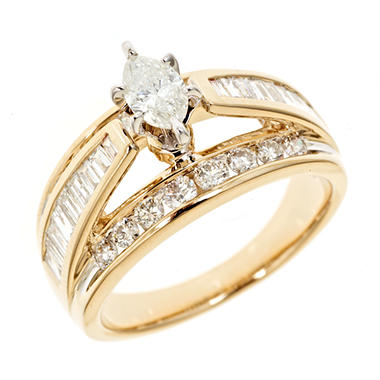 1.45 CT. T.W. Marquee Diamond Bridal Ring in 14K Yellow Gold (H-I, I1)