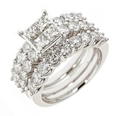 3.45 CT. T.W.  Diamond Bridal Ring in 14K White Gold (H-I, I1)