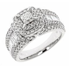 1.95 CT. T.W. Princess Cut Diamond Bridal Ring in 14K White Gold (HI, I1)