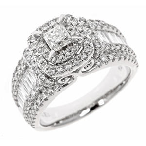 1.95 CT. T.W. Princess Cut Diamond Bridal Ring in 14K White Gold (HI, I1)
