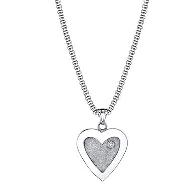 .05 ct. t.w. Diamond and Stainless Steel Brite Heart Pendant (H-I, I1)