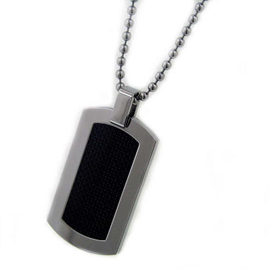 Stainless Steel and Carbon Fiber Dog Tag - 24""