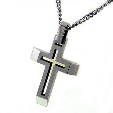 Stainless Steel Two-Tone Men's Cross Pendant