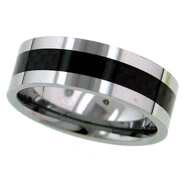 Tungsten and Black Carbon Fiber 8mm Men's Band