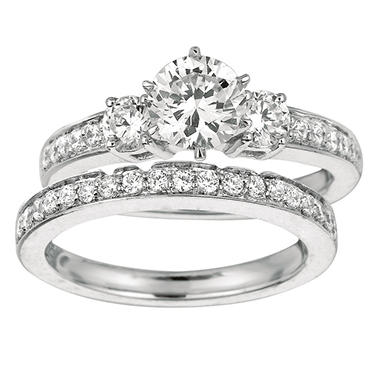 1.30 ct. t.w. Round-Cut Diamond Engagement Set 14k White Gold (I, I1)